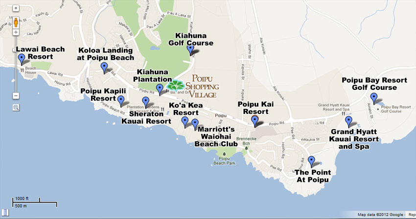 Poipu Shopping Village Map with Resorts and Golf Courses