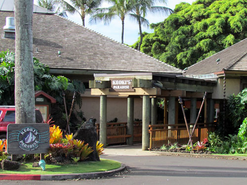Poipu Shopping Village Keokis Paradise Entrance